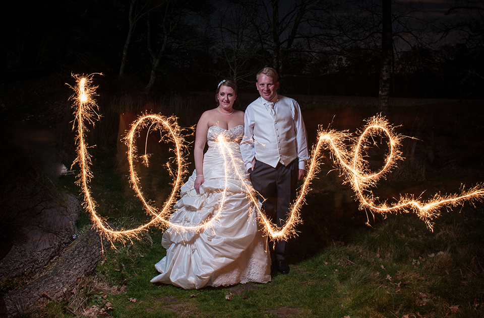 Light painted wedding