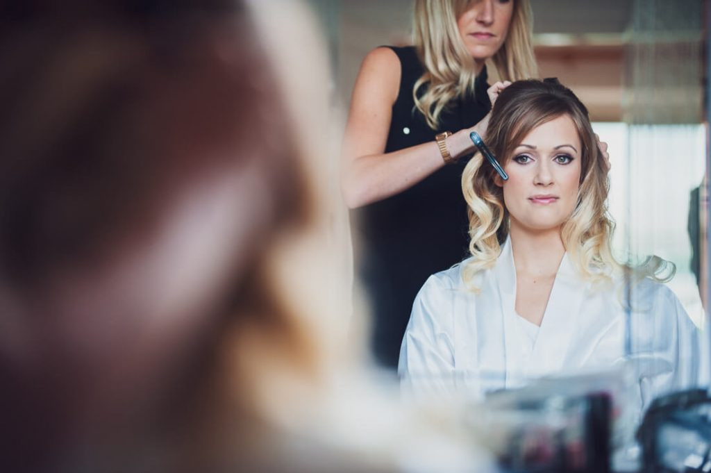 Bridal preparation makeup stage
