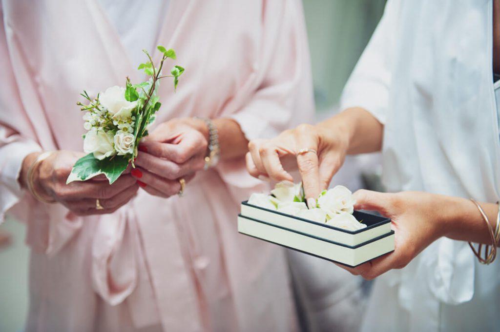 Wedding items in hands