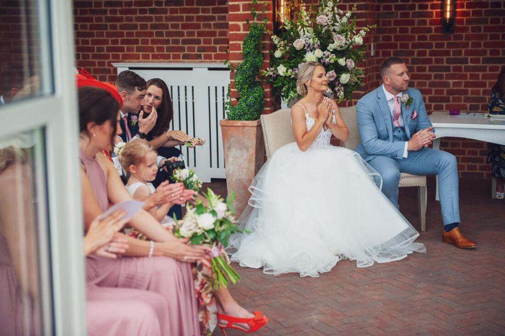 Bride and groom sat down