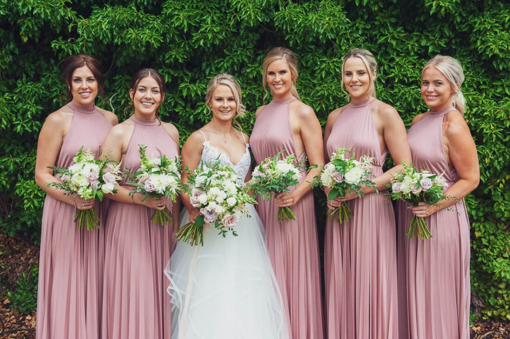 Bridesmaids formal lineup shot