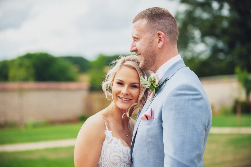 Bride and groom close together
